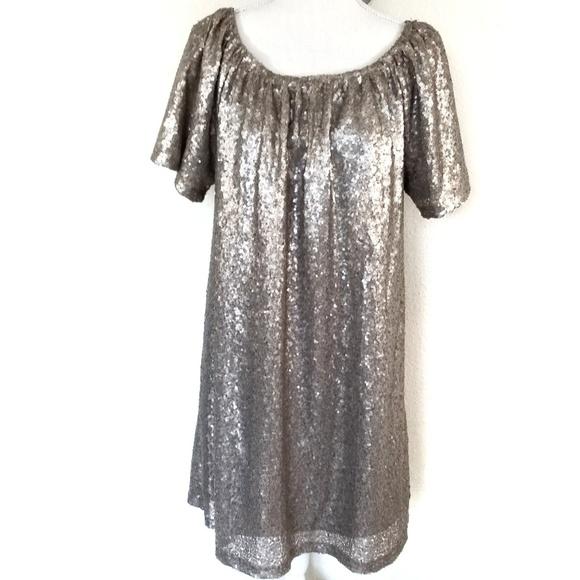 Charming Charlie Dresses & Skirts - 4/$25 Charming Charlie gold sequins shift dress